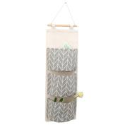 RainBabe Linen Wall Hanging Storage Bag Home Organiser for Door Bedroom kitchen 3 Pockets
