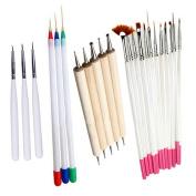 23 Pcs Nail Art Polish Painting Draw Pens Brush Tips Tools Set UV Gel Nail Brushes