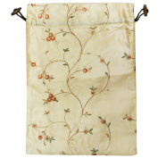 Wrapables Beautiful Embroidered Silk Travel Bag for Lingerie & Shoes Beige