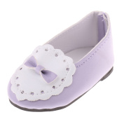 Sharplace Cute Doll Casual Flat Slip On Bowknot Shoes for 46cm American Girl Dolls Our Generation Dolls Accessories