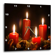 3dRose Red Advent Calendar Candles Burning With Black Background, Wall Clock, 25cm by 25cm