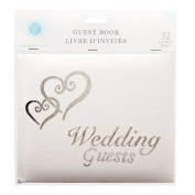 Wedding Guest Book Silver Hearts White