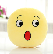 BH Toys QQ Emoticon Face Yellow Round Plush Pillow - Surprise Face Emoji