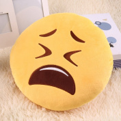 Soft Cute Emoticon Pretty Yellow Round Cushion Pillow Stuffed Plush Toy Compact Portable and Light Weight Design Easy to Carry