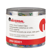 Universal One Vinyl-Coated Wire Paper Clips, No. 1, Assorted Colours, 500 Ct