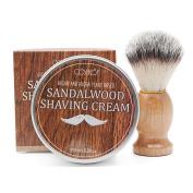 Cosprof Lather & Wood Shaving Cream With One Shaving Brush,160ml