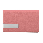 Unisex Work Faux Leather Business Name ID Credit Card Case Box Holder Pink
