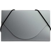 JAM Paper Plastic Business Card Case, Metallic Silver, Sold Individually