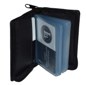 Business Card and Picture Holder with All Around Zipper - Black 4.1.6cm X 2.1.3cm