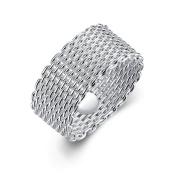 Designer Inspired Mesh Woven Ring Sterling Silver 925