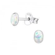 Tiny 925 Sterling Silver Oval Ear Studs Bezel Set With White Lab Created Opal 3 x 4 mm