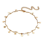 Huayang| Fashion Jewellery Brief Tiny Star Pendant Choker Necklace Alloy Neck Collar Chain for Women Girls