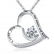 "Clearine Women 925 Sterling Silver CZ Engraved ""I Love You to the Moon and Back "" Moon Love Heart Pendant Necklace"