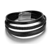 LOPEZ KENT 21.5CM Titanium Steel Blaack Leather Woven Multi-Rings Mens Bracelet