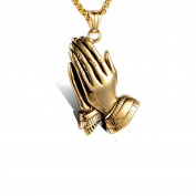 LOPEZ KENT Stainless Steel Mens Necklace Hip-hop Gold-plated Pray With Both Hands Pendant