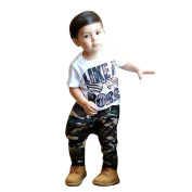 SHOBDW Boys Clothing Sets, Kids Baby Girls Fashion Letter Short Sleeve T-Shirt Tops + Camouflage Pants Outfits Toddler Summer Clothes