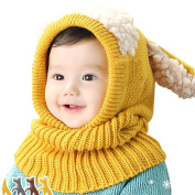 Domybest Baby Toddler Winter Beanie Warm Hat Hooded Scarf Knitted Earflap Cap