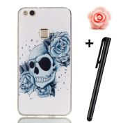 Huawei P10 Lite Case,P10 Lite Cover,TOYYM Ultra Slim [Shock-proof] Clear Transparent Silicone TPU Case Back Shell Skin,Soft Rubber Gel Protective Case Cover [Scratch-resistant] with Skull Rose Pattern Design for Huawei P10 Lite