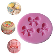 1xToruiwa Silicone Cake Mould Bowknot Pattern Fondant Mould Chocolate Pastry Sugar Candy Mould DIY Decorating Mould Baking Tools for Cake Cupcake Handmade Soap Mould 5.5*5*0.8cm Pink