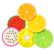 Bigood 4pcs of Set Creative Fruit Print Silicon Gel Coasters Table Place Cup Mat Colour Random