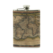 COOSUN World Map Drinking Flask with PU Leather Wrapped, Stainless Steel Leak Proof Liquor Hip Flask, 240ml