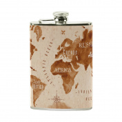 COOSUN World Map Retro Drinking Flask with PU Leather Wrapped, Stainless Steel Leak Proof Liquor Hip Flask, 240ml