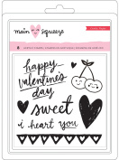 Main Squeeze Small Clear Stamps 12cm x 17cm 8/Pkg-Hearts & Words