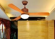 LED fan ceiling fan solid wood leaf simple chandelier remote control chandelier