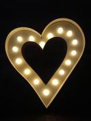 Natural Wood LED Heart Circus Lamp Decoration