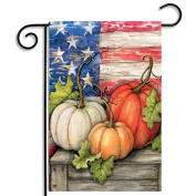 Inovey 30x45cm Halloween Polyester Pumpkin USA Flag Garden Holiday Decoration