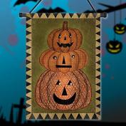 Inovey 30x45cm Halloween Pumpkin Polyester Welcome Flag Garden Holiday Decoration