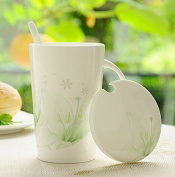 Sfhgt The Glass Ceramics With Cover The Large Capacity Simple Bone China Mug Cup Of Coffee Cup To Drink A Couple Of Breakfast Cereal Cup