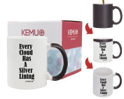 """Colour-Changing Mug Black Turn To White Printed """"Every Cloud Has A Silver Lining"""" Special Present Best Gift For Friend Family Member Colleague 330ml By Kemug"""