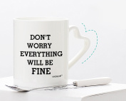 """White Ceramic Mugs Printed """"DON'T WORRY EVERYTHING WILL BE FINE"""" Special Comfort Present Best Gift For Friend Family Member Colleague 330ml By Kemug"""
