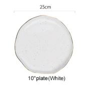 SELLIFY Gold Stripe Spot Ceramic Dinner Plate Bowl 10cm 15cm 18cm 25cm Porcelain Fish Plate