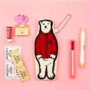 MANGO KING Child Polar Bear Plush Toy Pencil Case Kids MultiColor Coin Bag Gift Portable mini purse