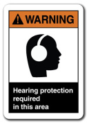 Warning Sign - Hearing Protection Required In This Area 18cm x 25cm Safety Sign ansi
