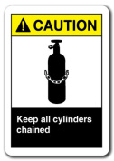 Caution Sign - Keep All Cylinders Chained 18cm x 25cm Plastic Safety Sign ansi osha