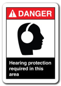 Danger Sign-Hearing Protection Required In This Area 7x10 Safety Sign ansi