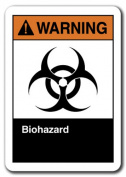 Warning Sign - Biohazard 18cm x 25cm Plastic Safety Sign ansi osha