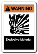 Warning Sign - Explosive Material 18cm x 25cm Plastic Safety Sign ansi osha