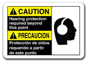 Caution Sign - Caution Hearing Protection Required (Bil) 18cm x 25cm Safety Sign
