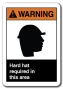 Warning Sign - Hard Hat Required In This Area 18cm x 25cm Plastic Safety Sign ansi