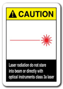 Caution Sign -Laser Radiation Do Not Stare Into Class 3a Laser 7x10 Safety
