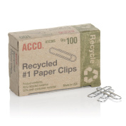 ACCO Recycled Paper Clips, Smooth Finish, #1 Size, 100/Box