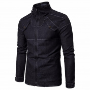 Dragon868 Men's Cowboy Shirt Jacket, Long Sleeve Denim Slim Fit Pure Colour Coat Tops