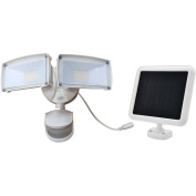 180-Degree Motion-Activated Outdoor Solar Integrated LED Landscape Dual-Head Security Flood Light, White