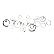 Souarts Removable Silver Round Loop Pattern Acrylic Mirror Wall Stickers for Children Home Living Room Decoration