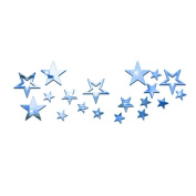 Souarts Removable Blue Twinkle Stars Acrylic Mirror Wall Stickers for Children Home Living Room Decoration