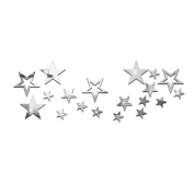 Souarts Removable Silver Twinkle Stars Acrylic Mirror Wall Stickers for Children Home Living Room Decoration